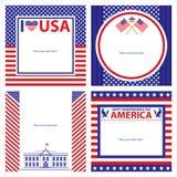 Amerikanska uppsättningar för självständighetsdagenmallkort Fotografering för Bildbyråer