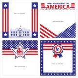 Amerikanska uppsättningar för självständighetsdagenmallkort Arkivbilder