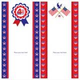 Amerikanska uppsättningar för självständighetsdagenmallkort Arkivbild
