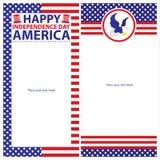 Amerikanska uppsättningar för självständighetsdagenmallkort Royaltyfri Bild