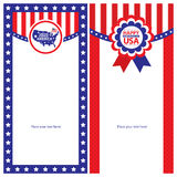 Amerikanska uppsättningar för självständighetsdagenmallkort Royaltyfria Bilder