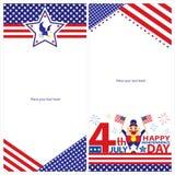 Amerikanska uppsättningar för självständighetsdagenmallkort Arkivfoton