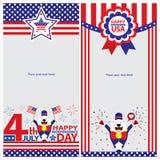 Amerikanska uppsättningar för självständighetsdagenmallkort Arkivfoto