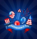 Amerikanskt baner för självständighetsdagen, traditionella färgrika symboler och objekt Royaltyfria Foton
