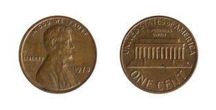 amerikanskt centmynt en encentmynt Arkivbilder