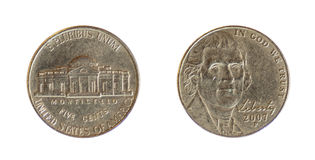 amerikanskt centmynt en encentmynt Royaltyfri Foto