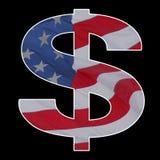 amerikanskt dollarflaggatecken Fotografering för Bildbyråer