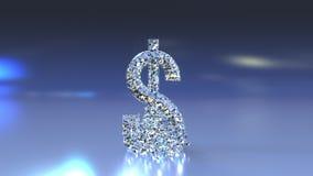 Amerikanskt dollarUSD symbol som göras av exponeringsglas som faller och splittrar Kris, forexdowntrend eller finansiella problem Royaltyfria Foton