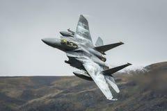 Amerikanskt flygplan för jaktflygplan F15 Fotografering för Bildbyråer
