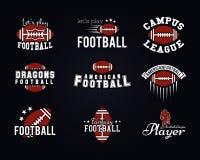 Amerikanskt fotbollslag, högskolaemblem, logoer Arkivfoton