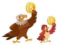Amerikanskt hållande dollarsymbol för skallig örn och hållande bi för sparv Arkivfoton