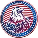 Amerikanskt huvud för skalliga Eagle USA Natioal symbolfjärde Juli emblem Arkivbilder