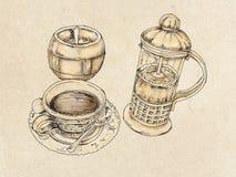 Amerikanskt kaffe med socker Arkivbild