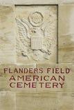 Amerikanskt kyrkogårdFlanders fält Belgien Waregem WW1 royaltyfri bild