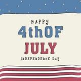 Amerikanskt självständighetsdagenhälsningkort Fotografering för Bildbyråer