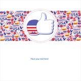 Amerikanskt självständighetsdagenmallkort Arkivfoton