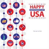 Amerikanskt självständighetsdagenmallkort Royaltyfri Foto