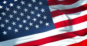 AmerikanUSA flagga, med verkliga rörelse, stjärnor och band, USA, demokratiskt patriotiskt lager videofilmer