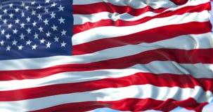 AmerikanUSA flagga, stjärnor och band, USA på blå himmel med moln