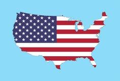 Amerikas förenta stater kartlägger med USA flaggan royaltyfri illustrationer