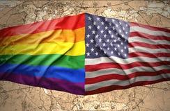 Amerikas förenta stater- och regnbågeflaggor royaltyfri illustrationer