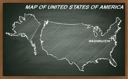 Amerikas förenta stater på svart tavla royaltyfri illustrationer