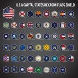 Amerikas förenta staterhuvudstad påstår sexhörningsflaggaskölden vektor illustrationer