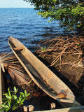 Amerindian dugout canoe Royalty Free Stock Photos
