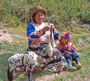 Amerindian woman. Perù: Amerindian woman in traditional dress and hat is working the wool. Amerindians constitute around 45% of the total population. The two Royalty Free Stock Image