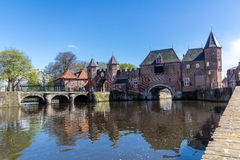 Amersfoort Medieval town wall Koppelpoort and the Eem river Royalty Free Stock Photos