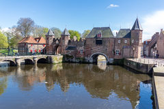 Amersfoort Medieval town wall Koppelpoort and the Eem river Stock Images