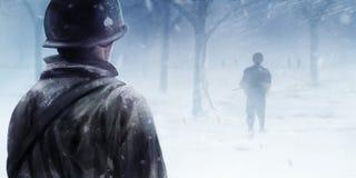 Amerykańscy żołnierze w zima lesie Obrazy Stock
