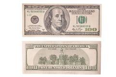 Amerykańscy banknoty odizolowywający na białym tle dwie strony fotografia stock