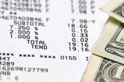 Amerykańscy dolary i kwitu zbliżenie Obrazy Royalty Free