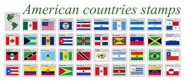 Amerykańscy krajów znaczki wektorowi Zdjęcie Royalty Free