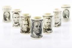 Amerykańscy prezydenci na banknoty obraz stock
