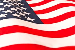 amerykańska flaga z bliska Flaga amerykańskiej tło Pojęcie patriotyzm obraz royalty free