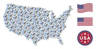Amerykańska mapy mozaika Pierdzi gazy ilustracji