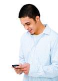 amerykański łaciński mężczyzna telefonu używać zdjęcia stock