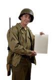 Amerykański żołnierz pokazuje znaka Zdjęcia Royalty Free