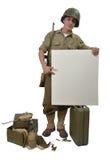 Amerykański żołnierz pokazuje znaka Obraz Royalty Free