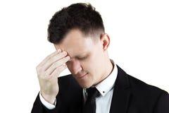 Amerykański biznesmen ma migrenę Fotografia Royalty Free