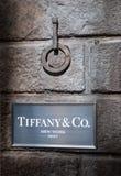 amerykański co firmy jewellery silverware tiffany Znak obraz stock
