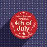 Amerykański dnia niepodległości świętowania majcher, etykietka lub etykietka, Zdjęcie Royalty Free