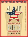 Amerykański dnia niepodległości świętowania plakat, sztandar lub ulotka, Zdjęcia Royalty Free