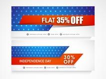 Amerykański dnia niepodległości świętowania sieci chodnikowiec lub sztandaru set Zdjęcie Royalty Free
