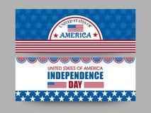 Amerykański dnia niepodległości świętowania sieci chodnikowiec lub sztandaru set ilustracja wektor