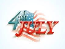 Amerykański dnia niepodległości świętowanie z 3D tekstem Fotografia Royalty Free