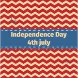 Amerykański dnia niepodległości 4 th Lipiec Kartka Z Pozdrowieniami projekt Tasiemkowy sztandar również zwrócić corel ilustracji  Obrazy Royalty Free