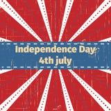 Amerykański dnia niepodległości 4 th Lipiec Kartka Z Pozdrowieniami projekt Tasiemkowy sztandar również zwrócić corel ilustracji  Fotografia Royalty Free